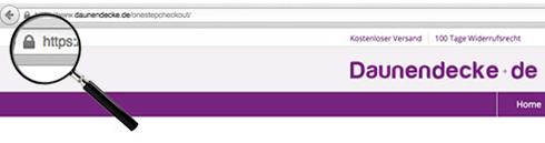 Lupe zeigt die gesicherte Verbindung anhand der URL