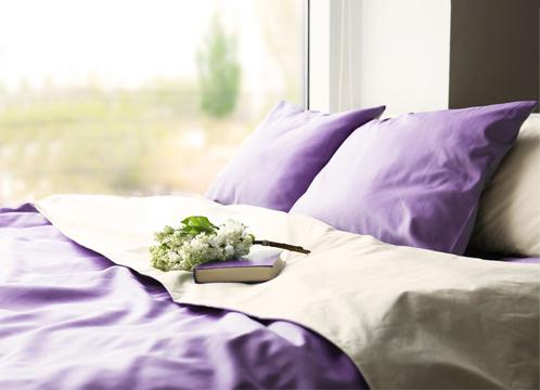 ordentlich gemachtes Bett mit lila Laken und Kissen, vor einem Fenster mit Blick auf eine grüne Wiese